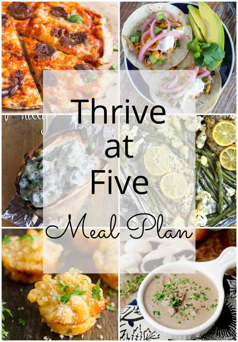 Thrive at Five Meal Plan – Week #12 ~ A weekly meal plan for busy parents. This week's meal plan features chicken chili tacos, a homemade Philly sandwich, a, easy cream of mushroom soup made from scratch, a 15-minute flatbread pizza, lobster mac and cheese bites and a yummy caramel apple cheesecake trifle. #weeklymealplan smartlittlecookie.net