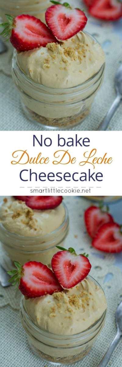 No-Bake Dulce de Leche Cheesecake ~ Sweet and delicious cheesecake flavored with dulce de leche and topped with fresh strawberries. #ad #LaLecheraNoBake