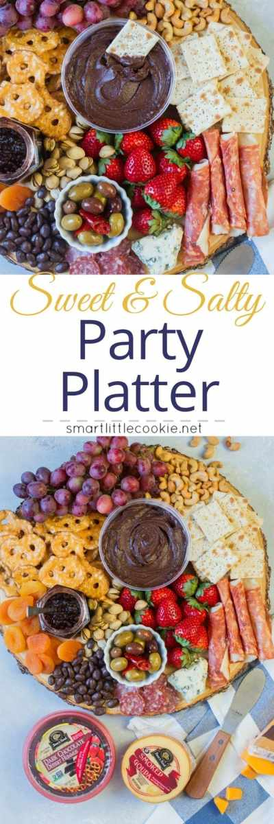 Sweet and Salty Party Platter ~ Made with sweet and salty ingredients such as fruit, nuts, crackers, cheese, ham and chocolate hummus. This platter is the perfect appetizer for your next friend's get-together. #ad #AllFlavorNoGuilt #ChocolateHummus