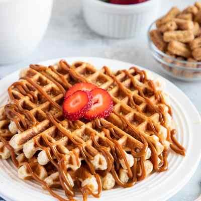 Cinnamon Toast Crunch Churros Waffles with Dulce de Leche
