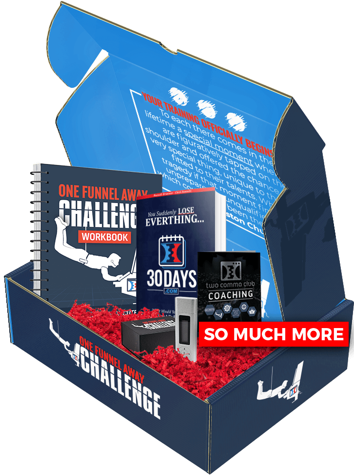 The Clickfunnels One Funnel Away Challenge Kit has all the bonuses for the training including the 30day.com book, a workbook and MP3 recordings of the first Challenge.