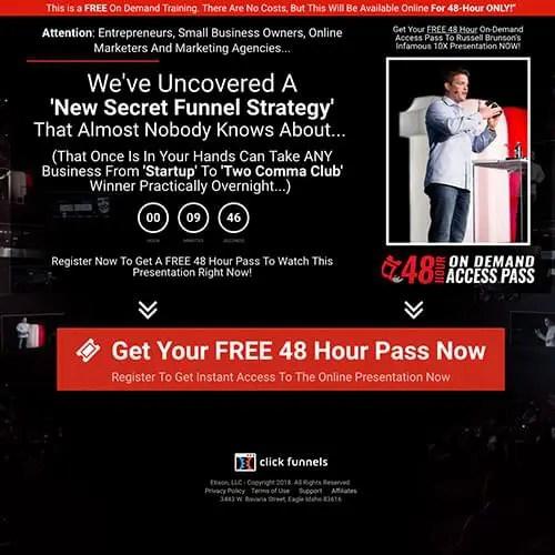 New Secret Funnel Strategy Webinar From Russell Brunson To Promote Funnel Builder Secrets