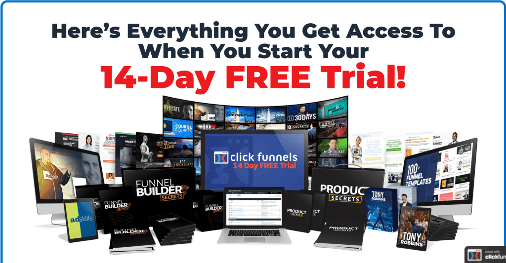 I Love ClickFunnels has ClickFunnels free 14-day trial with massive bonuses including FunnelFlix to start online business within 14 days.