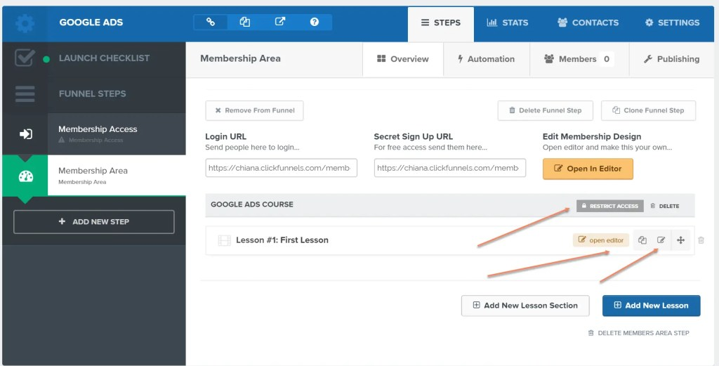 How to edit Lessons and restrict access in ClickFunnels Membership Area