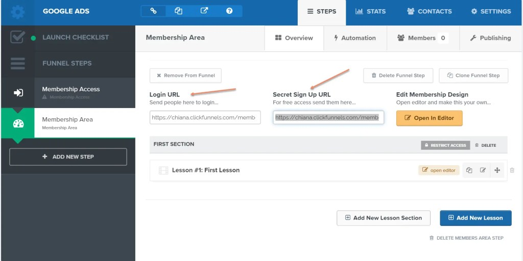 Membership Area in Clickfunnels with Login URL and Secret Sign Up URL