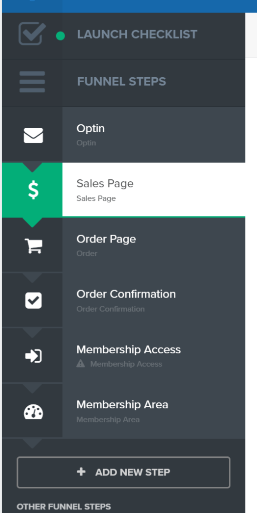 Integrated membership site and sales funnel to create and sell online course in ClickFunnels
