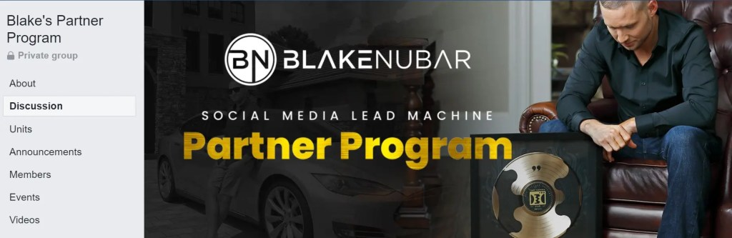 You will join a private Facebook members group when you register for the Social Media Lead Machine Partner Programner Program lets you work with Blake Nubar to promote this Facebook lead generation program to build a 6-figure online business