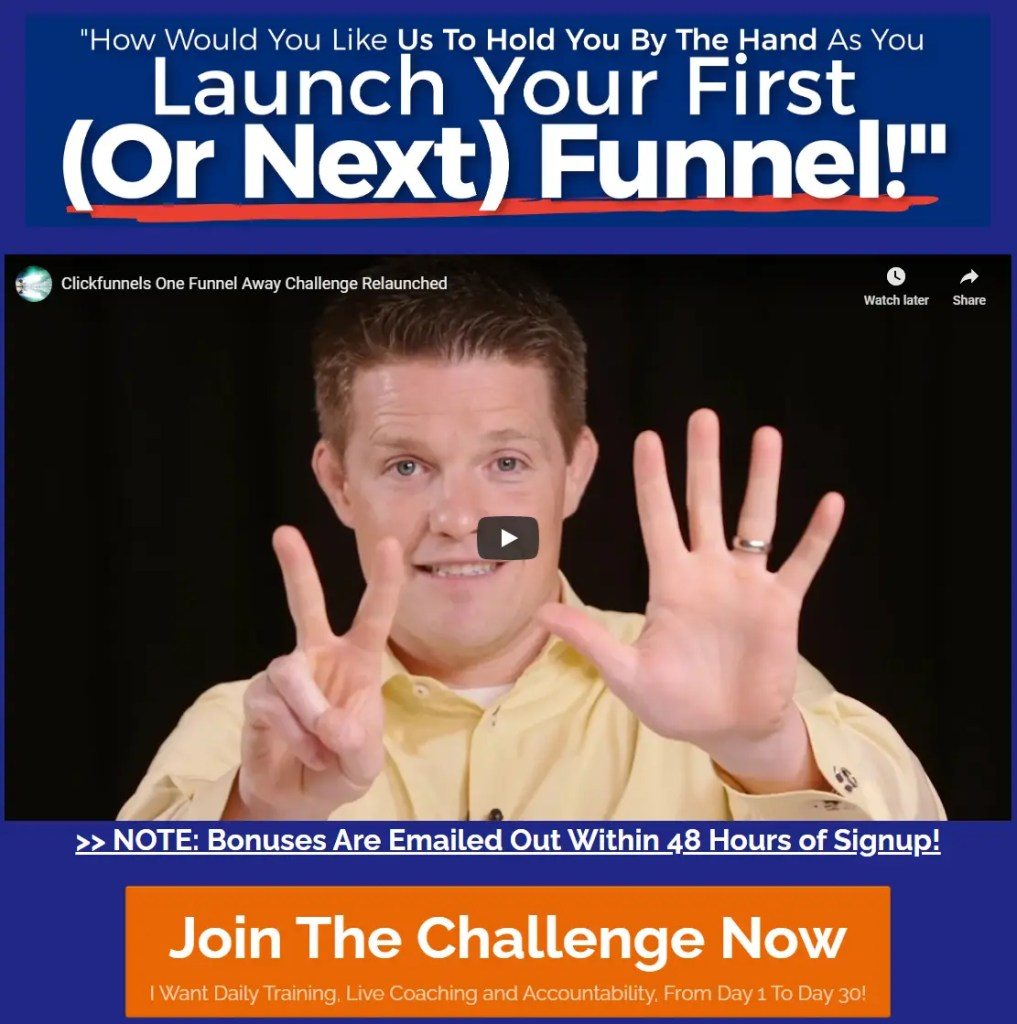 One Funnel Away Challenge is a 30 day online virtual training from ClickFunnels on the strategies to start an online business in 30 days using sales funnels