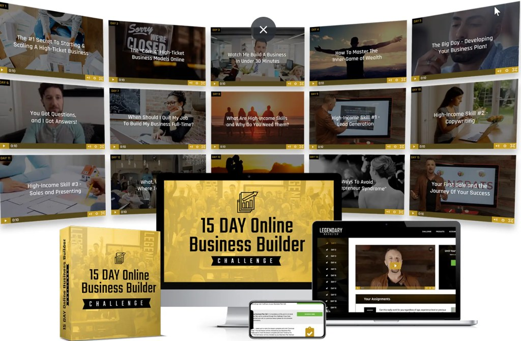 The 15-day Online Business Builder Challenge is a Legendary Marketer program that prepares individuals to start a business and begin earning money online in 15 days.