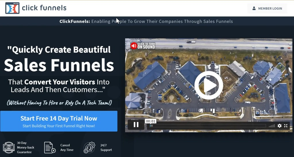 ClickFunnels is a sales funnel building software used to sell any product or service online and has Russell Brunson as CEO. ClickFunnels has a high ticket affiliate marketing program