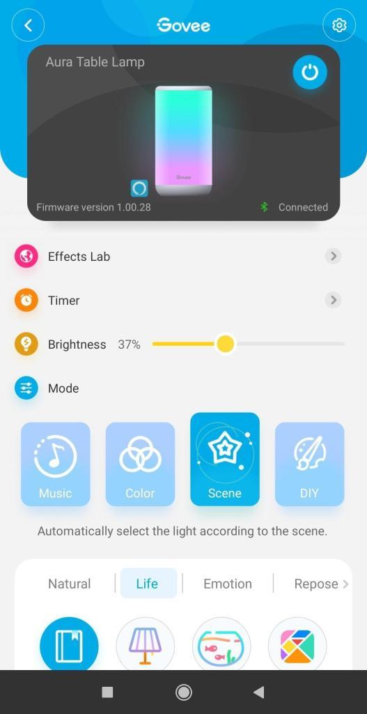 Aplikacja Govee Aura panel główny