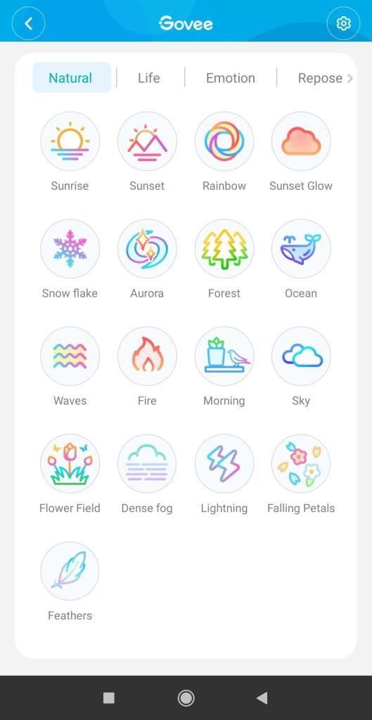 Aplikacja Govee Aura wybór trybów