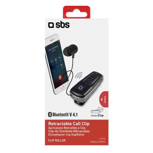 Bluetooth Mono Slušalica sa mikrofonom i kabelom u kopči - Crna
