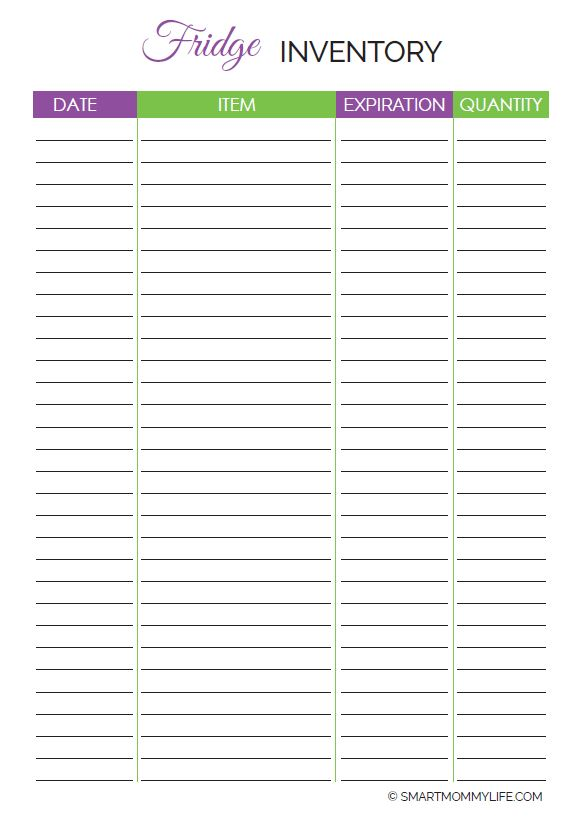 Free fridge inventory template to help you stay on a budget so that you only buy what you don't have in stock