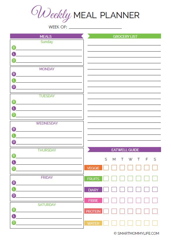 Free printable weekly meal planner that will make dinner easier and stress-free. Download weekly meal planner from smartmommylife