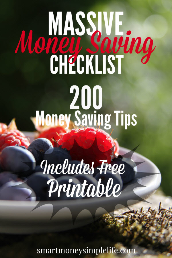 money saving checklist - 200 money saving tips
