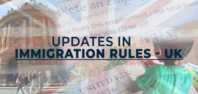 Updates in Immigration Rules - UK