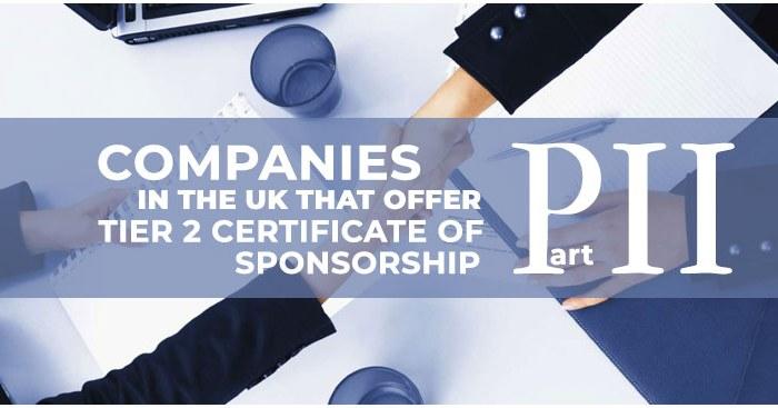 Companies that provide Tier 2 sponsorship certificate in UK, part 2