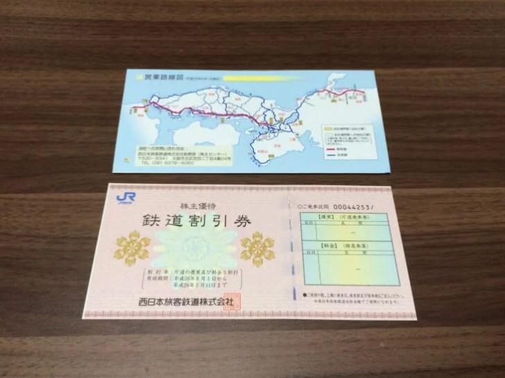 JR西日本の株主優待券の写真