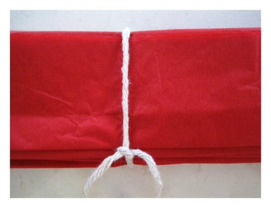 Tie the tissue paper with string