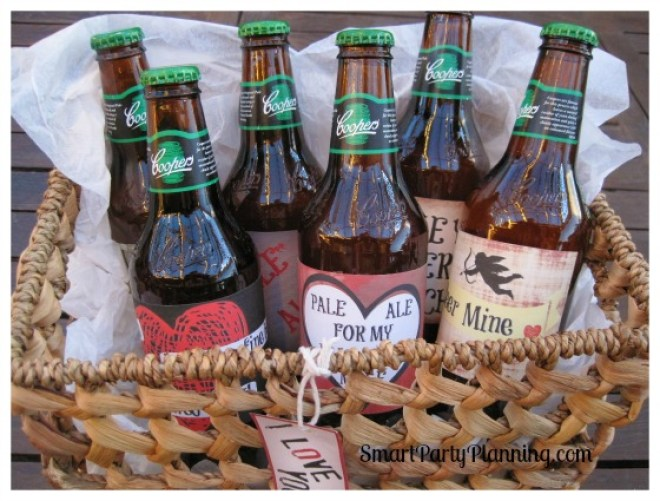 Valentine beer labels in a gift baset