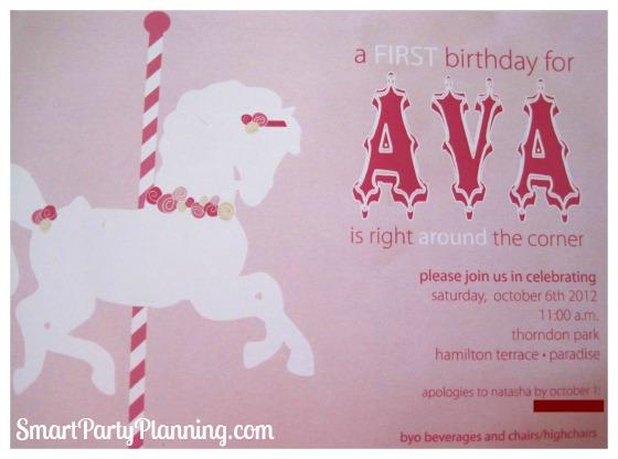 Carousel birthday invitation