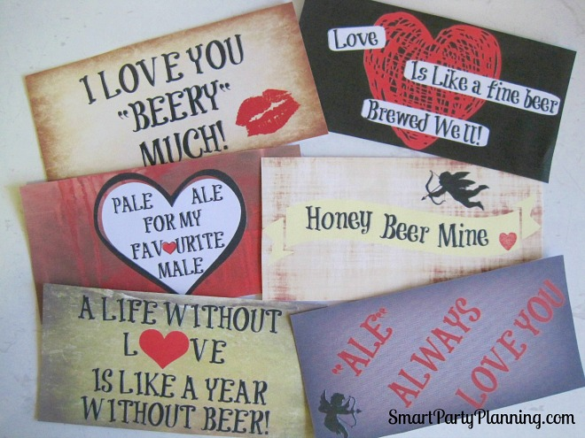 Print off the Valentine beer labels