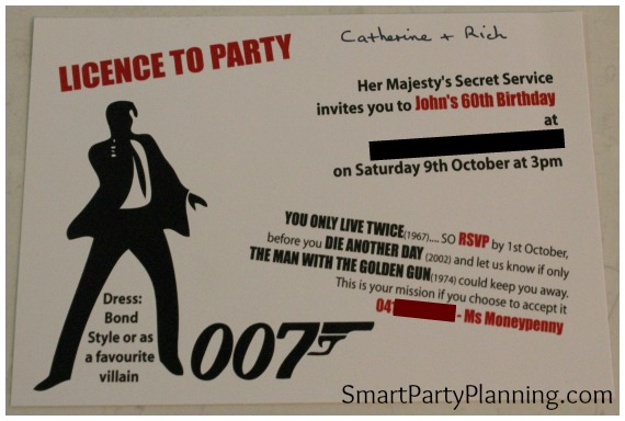 the best ever james bond theme party, Birthday card