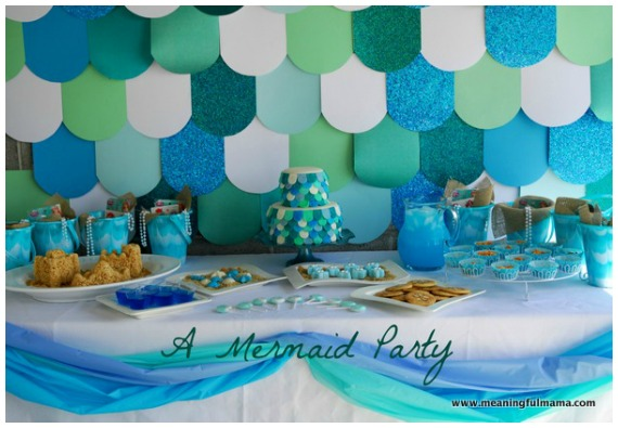 Fish scale wall mermaid party