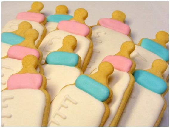 Bottle baby shower sugar cookies