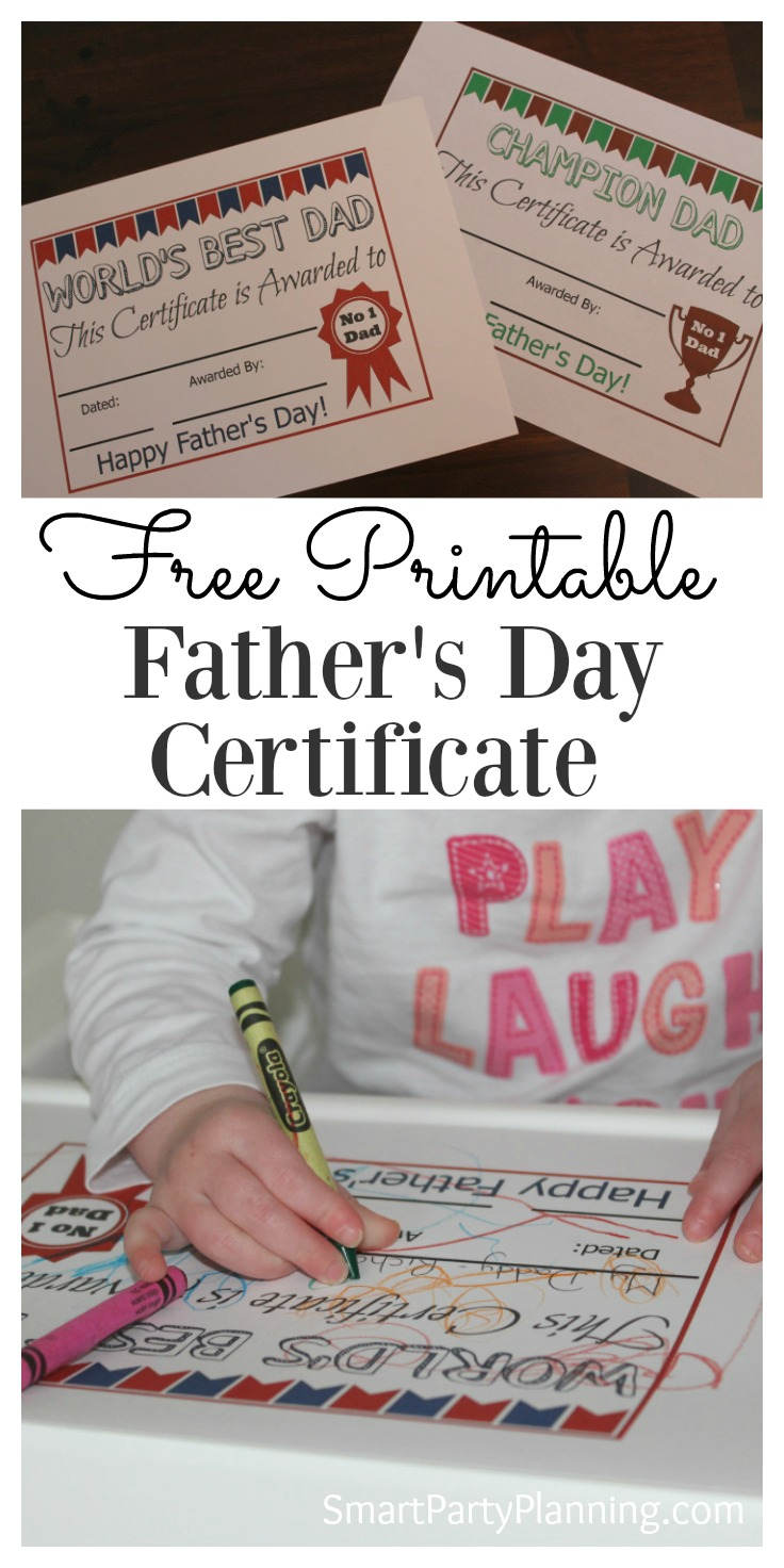 One of the best kinds of father's day gifts from the kids is something that is truly personal. A DIY father's day certificate fits the bill nicely. Even the little one's can have fun with this, as it's an easy printable that the kids can complete and decorate as they desire. The free printable can be easily used as a last minute gift idea so there is no excuse not to get something for dad. With two designs to choose from, the kids can choose their favorite.
