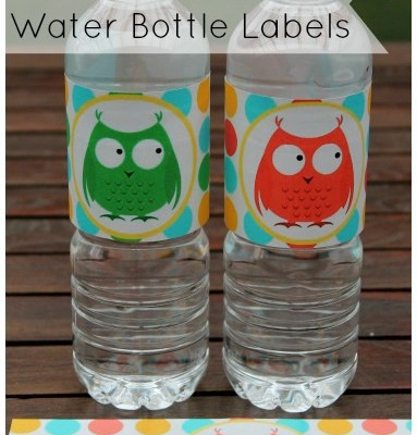 Printable Owl Water Bottle Labels