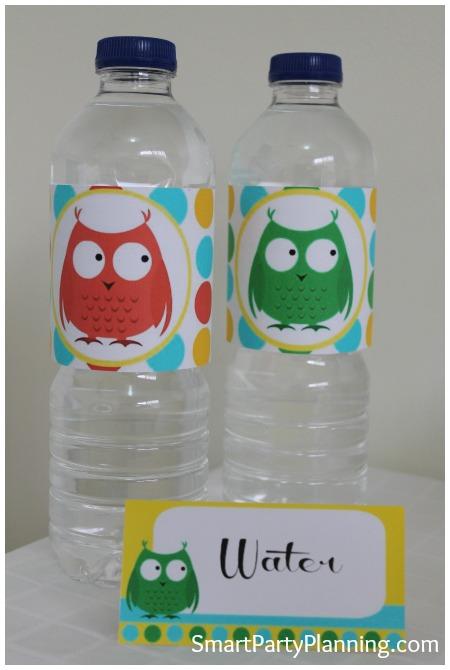 Owl Water Bottle Labels