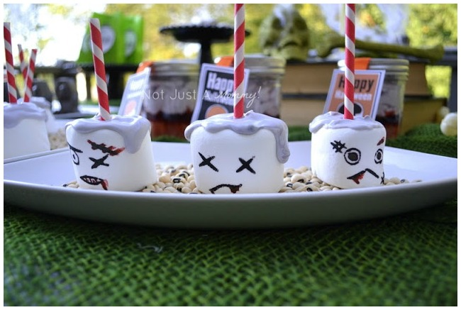 Plate of zombie marshmallow pops