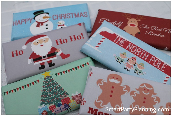 Set of 6 Christmas candy bar wrappers