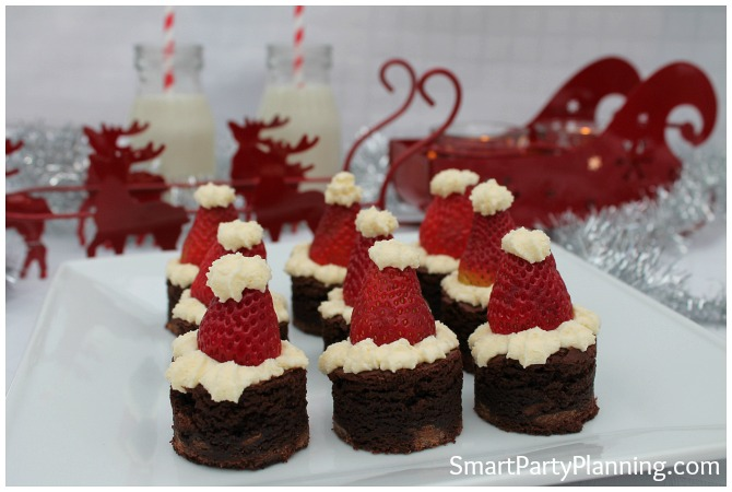 Plate of Santa hat brownies