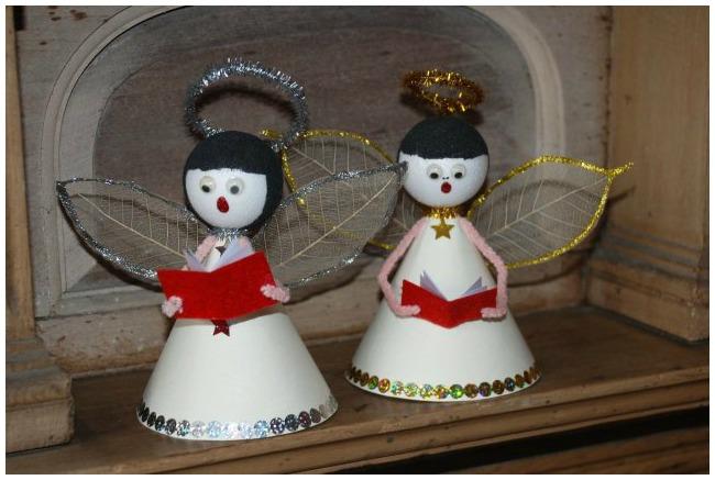 Handmade Christmas ornaments singing angels