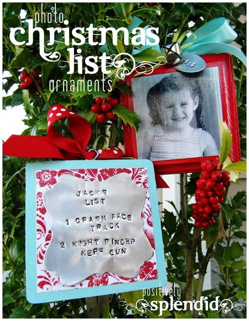 Photo Christmas List Ornament