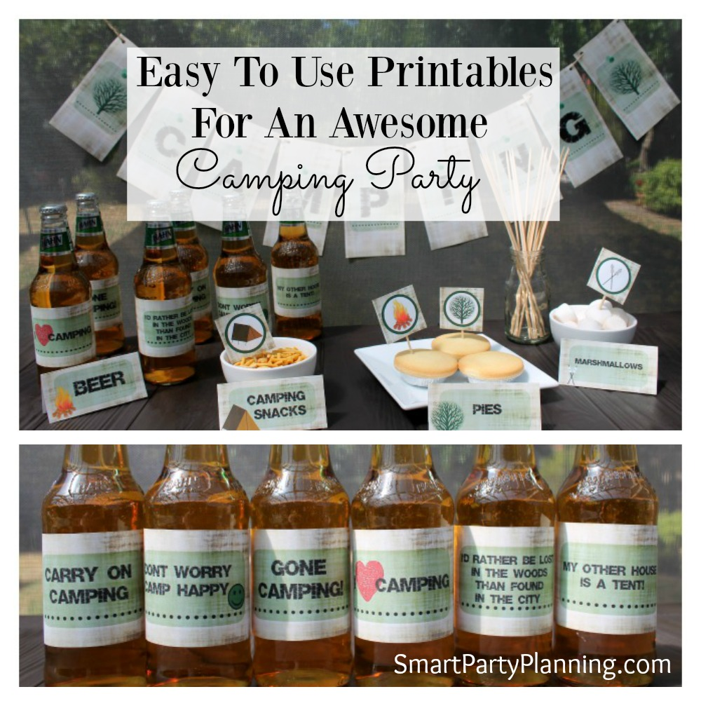 Easy to use camping party printable's that will help bring the camp to your backyard! Complete with food tent labels, favour and cupcake tags, banner and beer labels, the printable's are easy to use and help create that camping theme vibe. Kids and adults alike will love them.