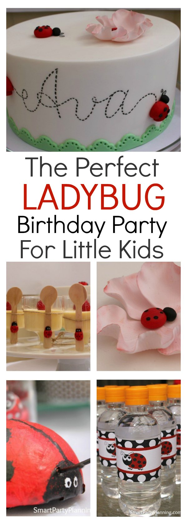 Create an easy but adorable ladybug party with just a few simple decorations, and easy food.  This is a theme that all little kids will love, with it's bright red color tones. Set up as a garden party and enjoy the earthy details.