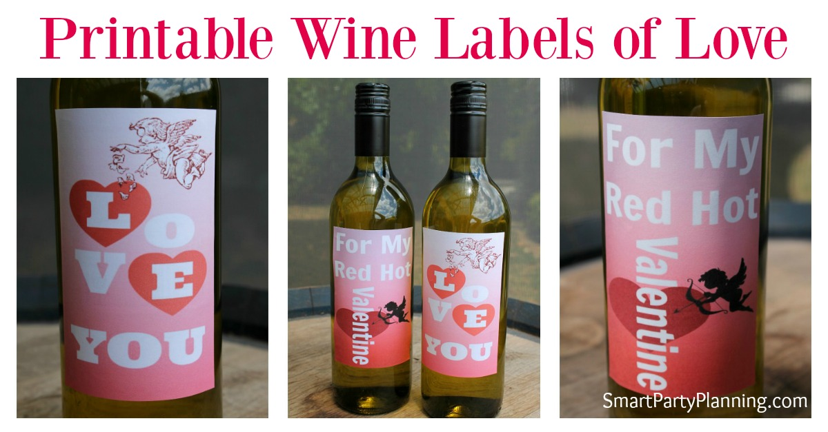 "Do you like to say ""I love you"" with wine? If wine is your go to gift, then these Printable wine labels are the perfect choice this Valentine's day.  As far as DIY gift ideas go, it couldn't get much easier.  These printable labels will make gift giving a breeze this year."
