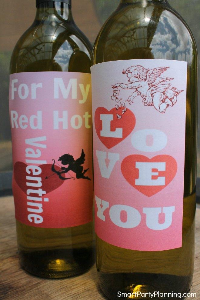 Set of 2 printable valentine wine labels