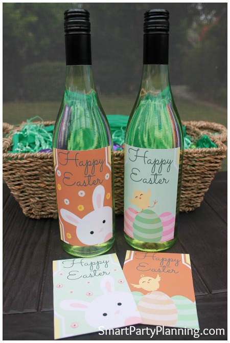 Bottles of wine with the Easter printables on