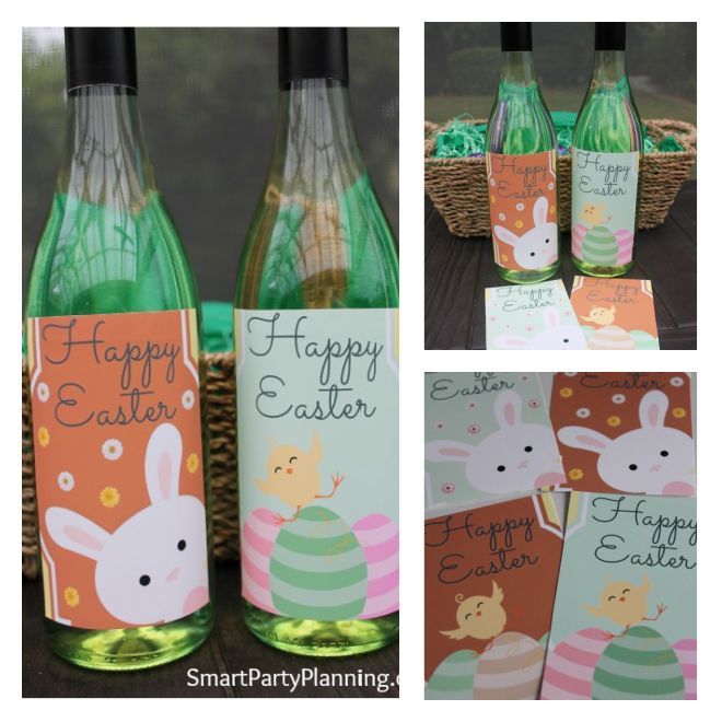 Easy Easter Wine Bottle Labels