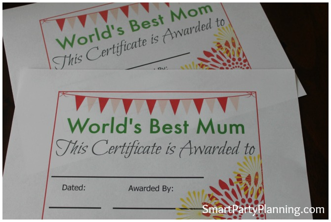 Printed Mother's Day Certificates