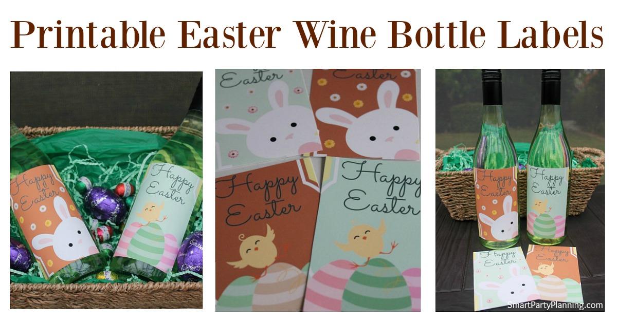 Printable Easter wine bottle labels