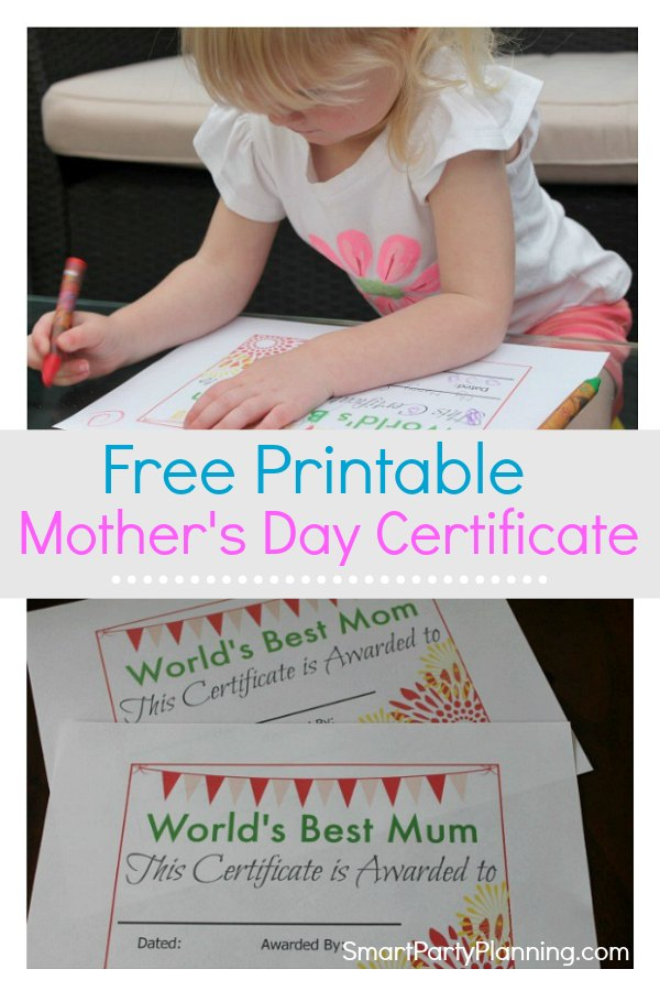 A free printable mother's day certificate.  Kids will love completing this just as much as mom's will love receiving it.  This certificate is for the