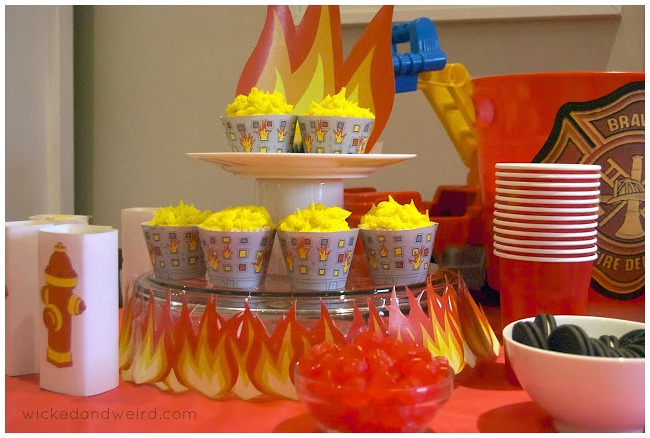 Fireman birthday party cupcakes