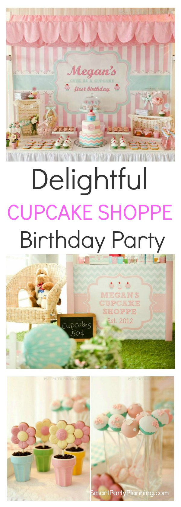 A cupcake shoppe birthday party has to be every child's dream.  Not only is this party beautifully styled, but everything tastes absolutely amazing.  This is one of those gorgeous party ideas that will quickly become one of your favorites.