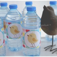 Polka Dot Bird Water Bottle Labels